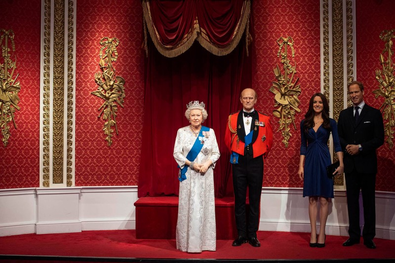 Part of the exhibit at Madame Tussauds London sits empty after the removal of the figures of Prince Harry and Meghan, the duchess of Sussex, on Jan. 9. The figures were removed from the royal display and placed elsewhere in the exhibit after their announcement to step back as senior memors of the British royal family. Victoria Jones/PA Images via Getty Images