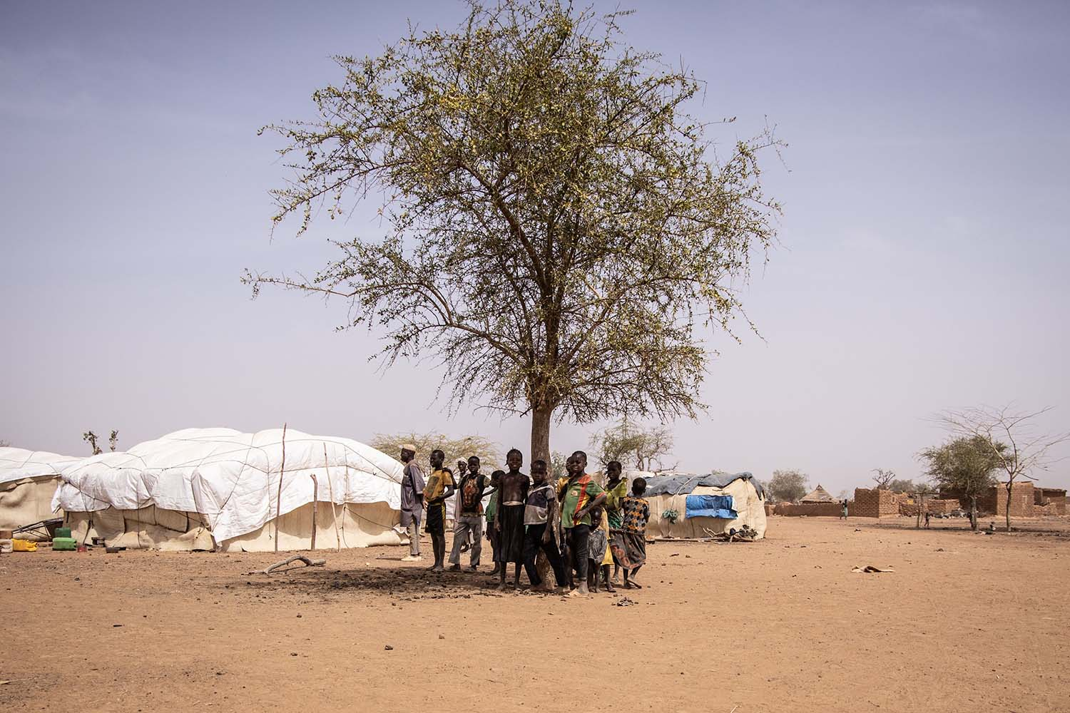 Children stand in the shadow of a tree at a camp for internally displaced people in Barsalogho, Burkina Faso, on Jan. 27. The small town hosts 10,000 displaced persons and refugees fleeing jihadist and inter-community violence in the country and neighboring Mali and Niger. OLYMPIA DE MAISMONT/AFP via Getty Images