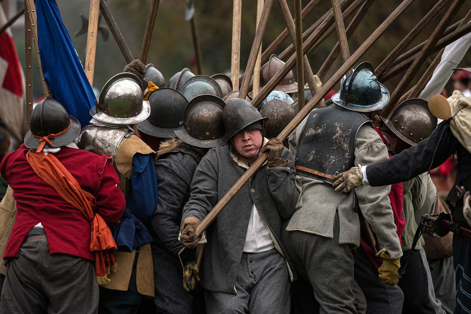 Members of the Sealed Knot, a society promoting interest in the English Civil War, stage a reenactment of the Battle of Nantwich, a battle which took place near the town in 1644, in northwest England on Jan. 25. OLI SCARFF/AFP via Getty Images