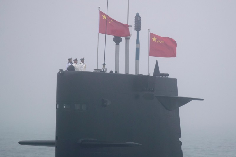 A Great Wall 236 submarine of the Chinese People's Liberation Army (PLA) Navy participates in a naval parade in the sea near Qingdao, in eastern China's Shandong province on April 23, 2019.