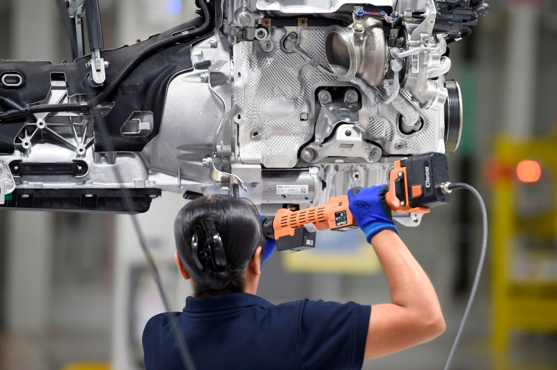 A BMW employee works at the new BMW car production plant in San Luis Potosi, Mexico, on June 6, 2019.
