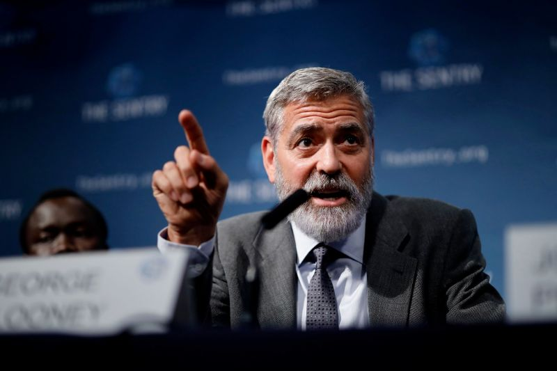 American actor George Clooney takes part in a press conference in central London to present a report on atrocities in South Sudan on Sept. 19, 2019.