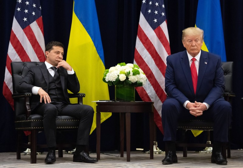 U.S. President Donald Trump meets with Ukrainian President Volodymyr Zelensky