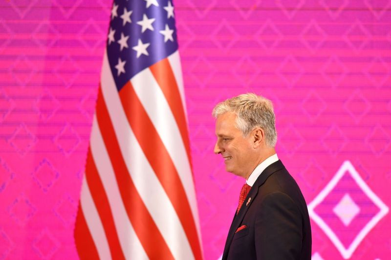 U.S. National Security Advisor Robert O'Brien walks onstage during the seventh summit between the United States and the Association of Southeast Asian Nations in Bangkok on Nov. 4, 2019.