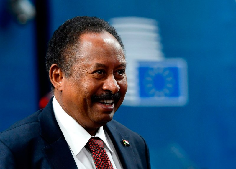 Sudanese Prime Minister Abdalla Hamdok arrives prior to a bilateral meeting with the European Union's minister for foreign affairs and security policy at the EU headquarters in Brussels on Nov. 11, 2019.