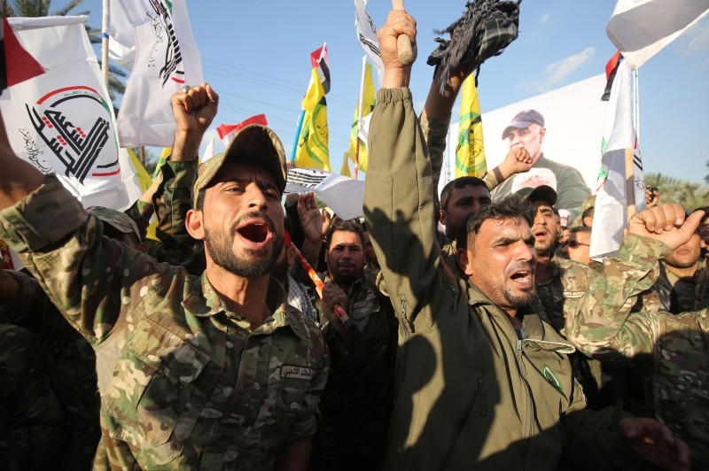 A protest over the killings of the Iranian commander Qassem Suleimani and the Iraqi paramilitary commander Abu Mahdi al-Muhandis