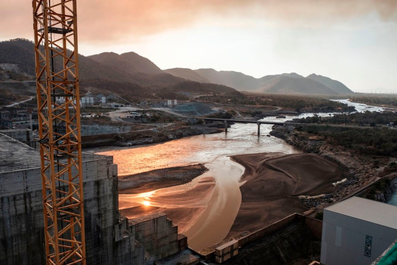 A general view of the Blue Nile as it passes through the Grand Ethiopian Renaissance Dam, which has been a flash point for tensions between Egypt and Ethiopia, on Dec. 26, 2019.