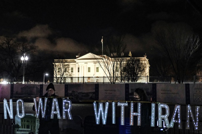 Protesters demonstrate outside the White House after Iran fired nearly two dozen missiles at bases in Iraq housing U.S. troops, Jan. 7, 2020.