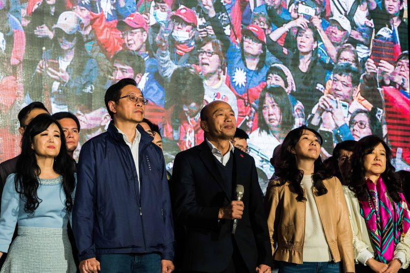 Han Kuo-yu  joins his supporters after losing the presidential election in Kaohsiung, Taiwan, on Jan. 11.