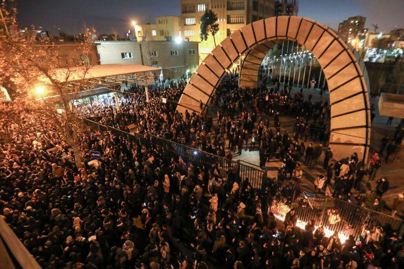 Iranian students at Amirkabir University in Tehran protest