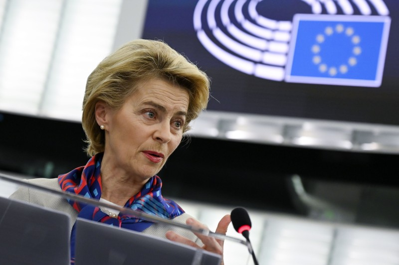 President of the European Commission Ursula von der Leyen gives a speech during the presentation of the priorities of the rotating Presidency of the Council for the next six months at the European Parliament on January 14, 2020 in Strasbourg, eastern France.