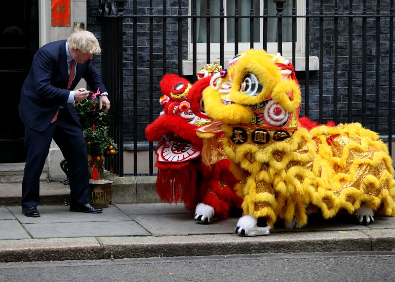 Prime Minister Boris Johnson hosts Chinese New Year celebrations outside 10 Downing Street on January 24 in London.