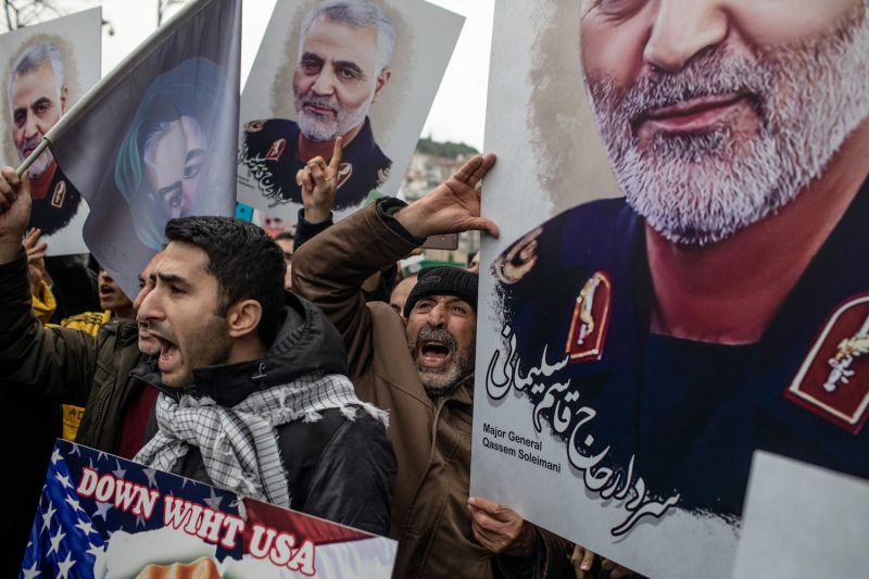 Protesters hold posters showing Iranian commander Qassem Suleimani during a protest outside the U.S. Consulate in Istanbul on Jan. 5.