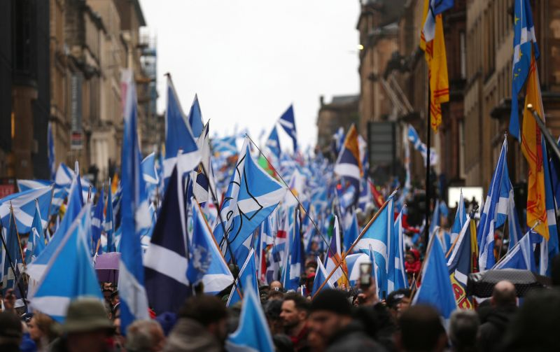 Protesters take part in a pro-independence march on Jan. 11 in Glasgow, Scotland.