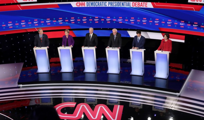 The six leading Democratic candidates at the presidential primary debate at Drake University in Des Moines, Iowa, on Jan. 14.