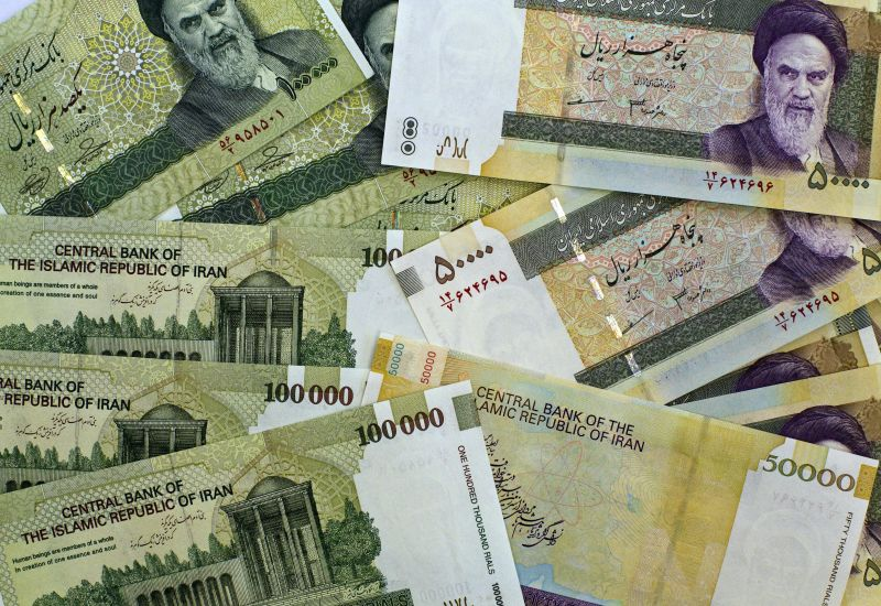 Iran rials, pictured on April 11, 2011.