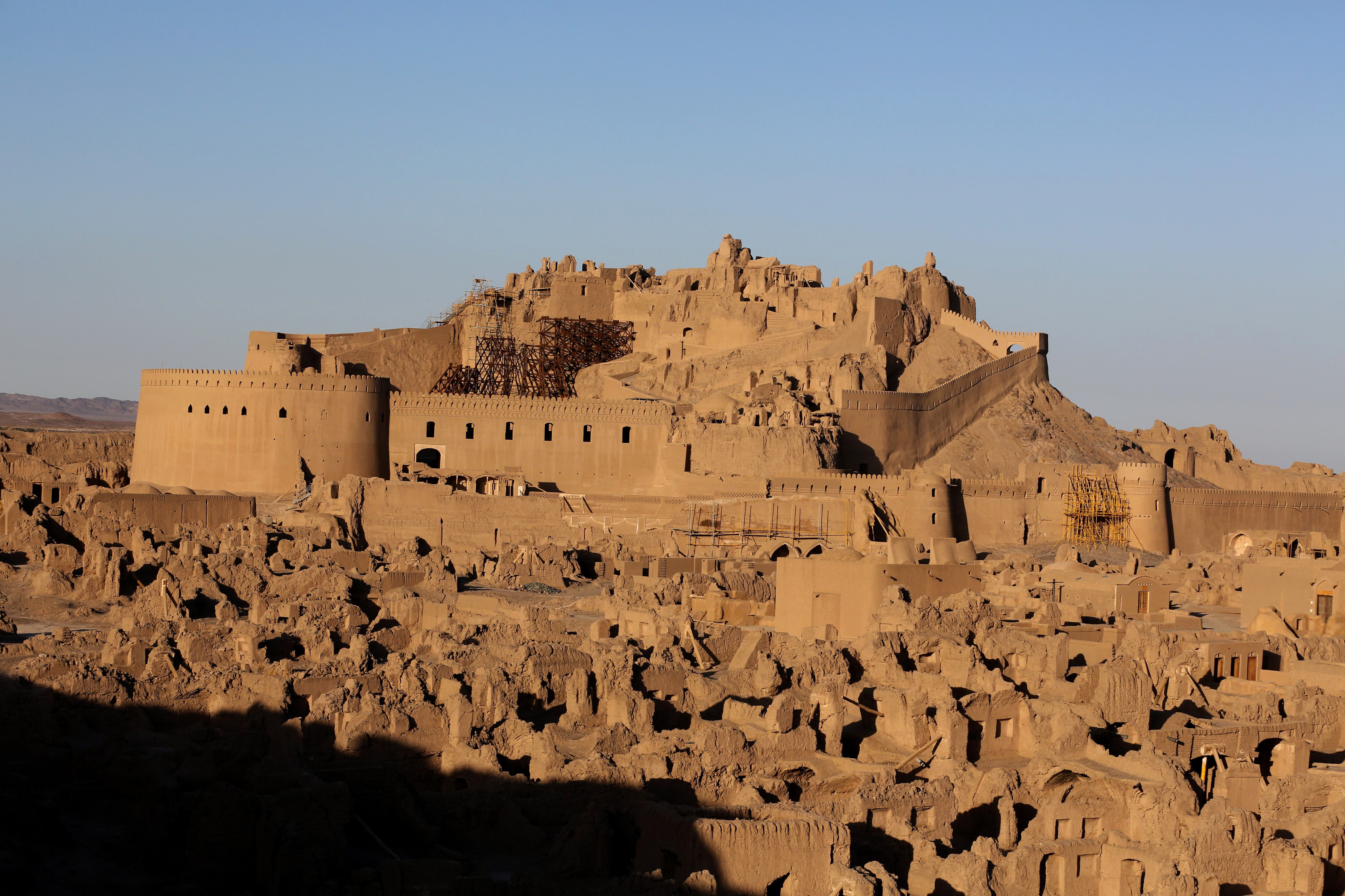 Arg'e Bam, the pre-Islamic desert citadel that was the largest adobe monument in the world made of non-baked clay bricks, is seen on the 10th anniversary of the earthquake in the city of Bam, a thousand kilometers (600 miles) southeast of Tehran, on December 18, 2013.