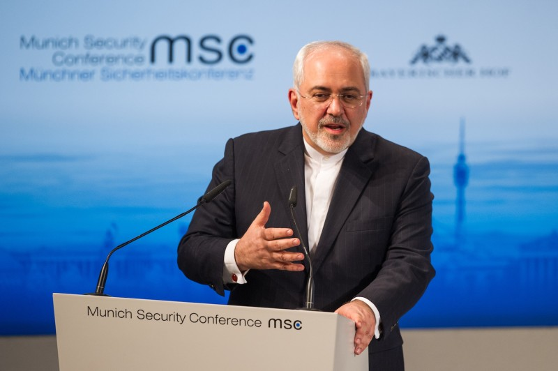 Iranian Foreign Minister Javad Zarif speaks at an international conference.