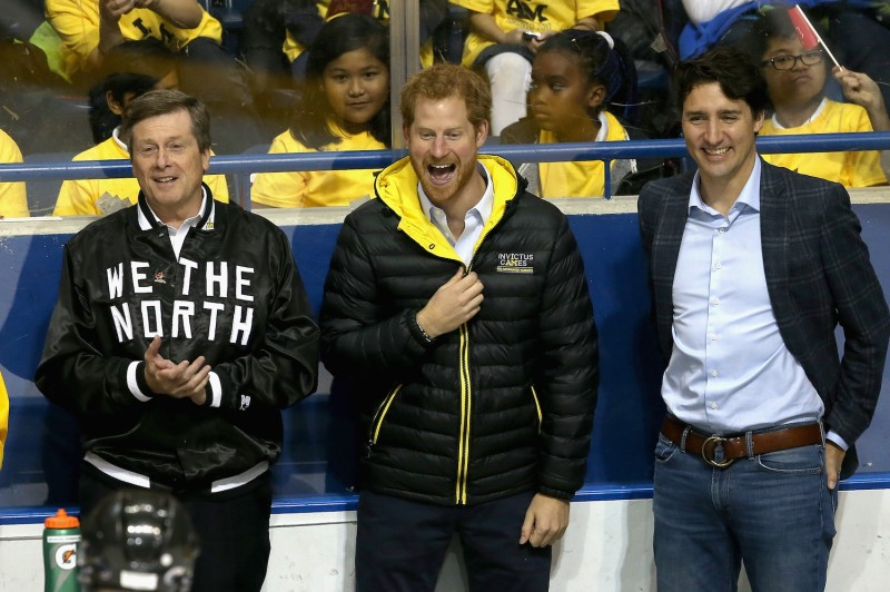 Prince Harry chats with Canadian Prime Minister Justin Trudeau and Toronto Mayor John Tory