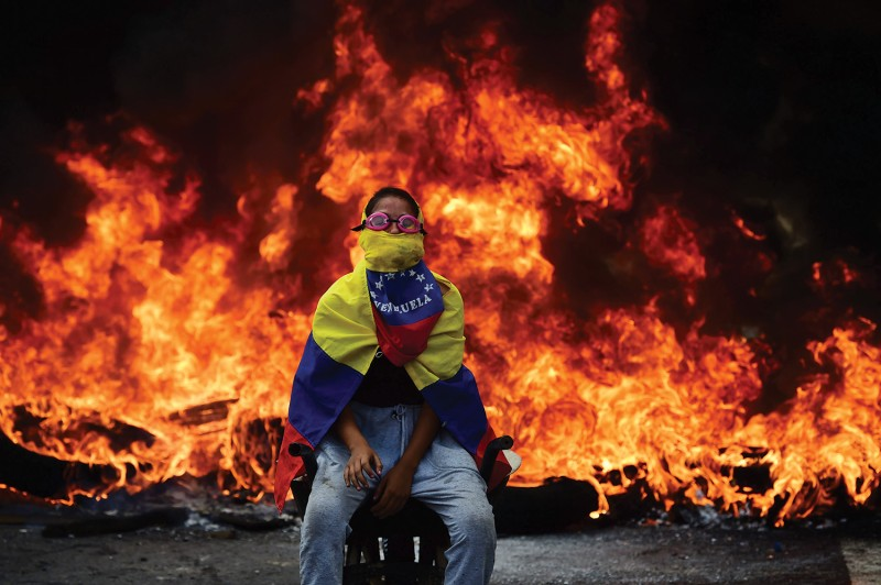 An opposition activist during a demonstration in Caracas on April 24, 2017.