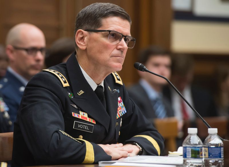 U.S. Army Gen. Joseph Votel, then-head of U.S. Central Command, testifies during a House Armed Services Committee hearing on Capitol Hill in Washington on Feb. 27, 2018.