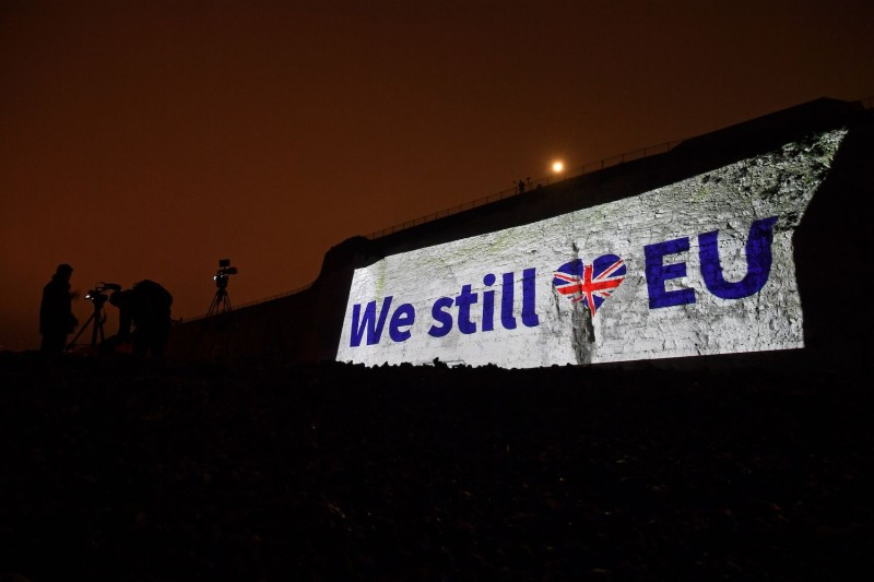 A pro-EU message projected onto the cliffs in Ramsgate, southern England on Jan. 31.