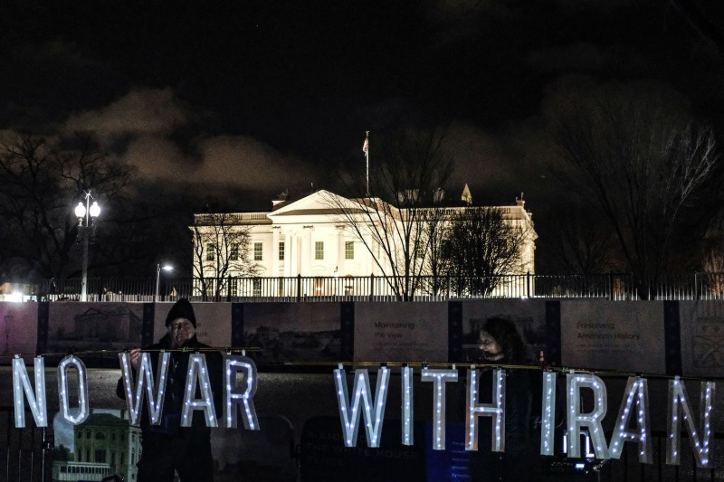 Protesters demonstrate against Trump's Iran policy outside the White House on Jan. 7.