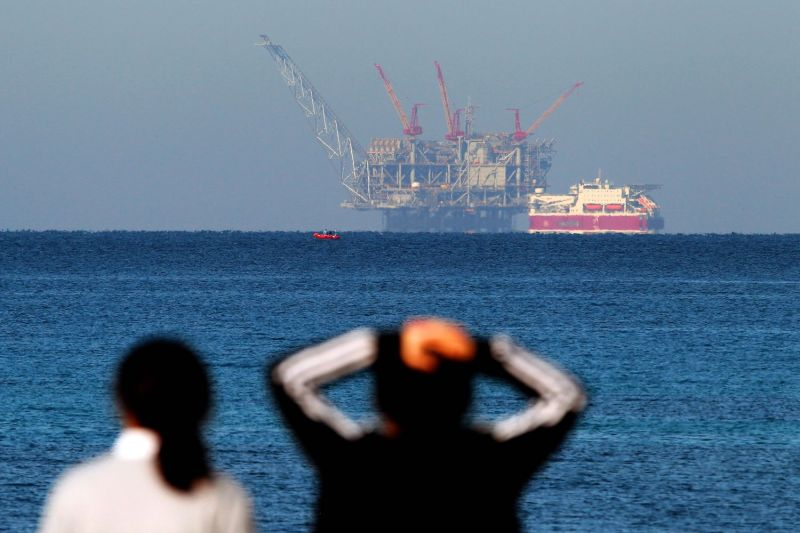 A view of the platform of the Leviathan natural gas field in the Mediterranean Sea from the Israeli northern coastal city of Caesarea on Dec. 19, 2019.