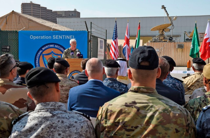U.S. Navy Vice Adm. James Malloy speaks during the International Maritime Security Construct opening ceremony in Manama, Bahrain, on Nov. 7, 2019.