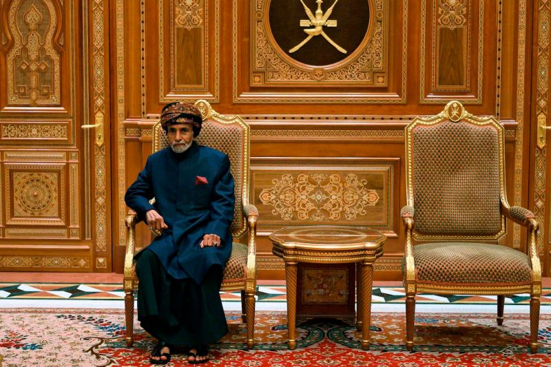 Oman's Sultan Qaboos bin Said sits during a meeting with the U.S. secretary of state at the Beit al-Baraka royal palace in Muscat, Oman, on Jan. 14, 2019.