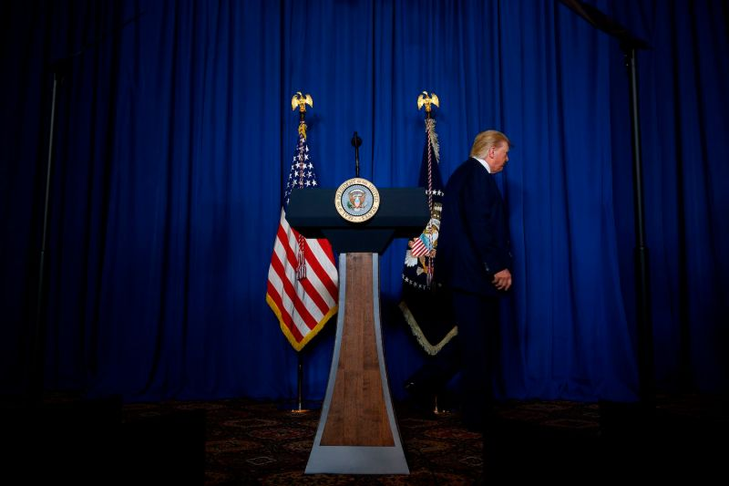 U.S. President Donald Trump leaves the podium after making a statement on Iran at the Mar-a-Lago estate in Palm Beach, Florida, on Jan. 3.