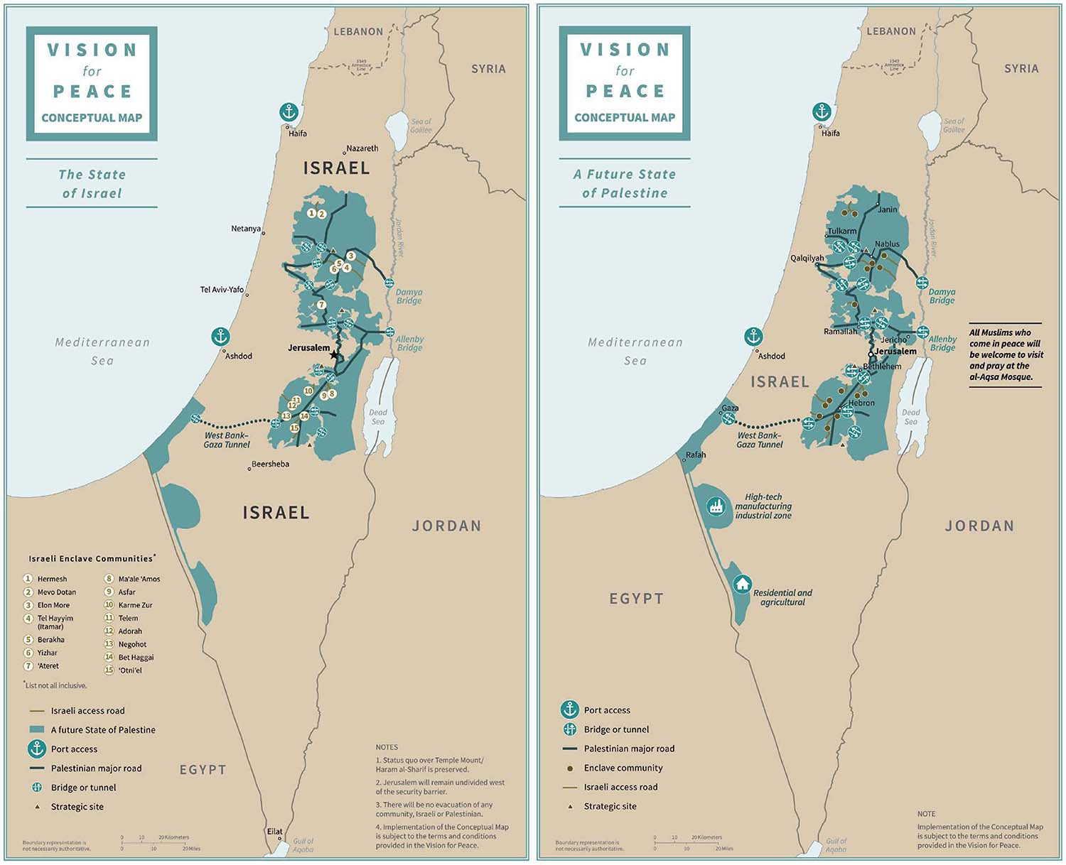 Trump's 181-page Middle East peace plan includes maps delineating the final borders of Israel and the future Palestinian state. The first map shows what Israel would look like after it annexed most Jewish settlements in the West Bank and a large swatch of eastern territory known as the Jordan Valley. In the second map, the Palestinian state is made up of discrete territorial blocs connected by highways and tunnels. The state would include two areas of land south of the Gaza Strip that currently belong to Israel.