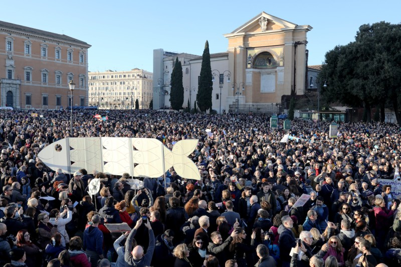 "Supporters of the anti-Matteo Salvini ""Sardine Movement,"" gather in Piazza San Giovanni in Latrerano on Dec.14, 2019 in Rome."