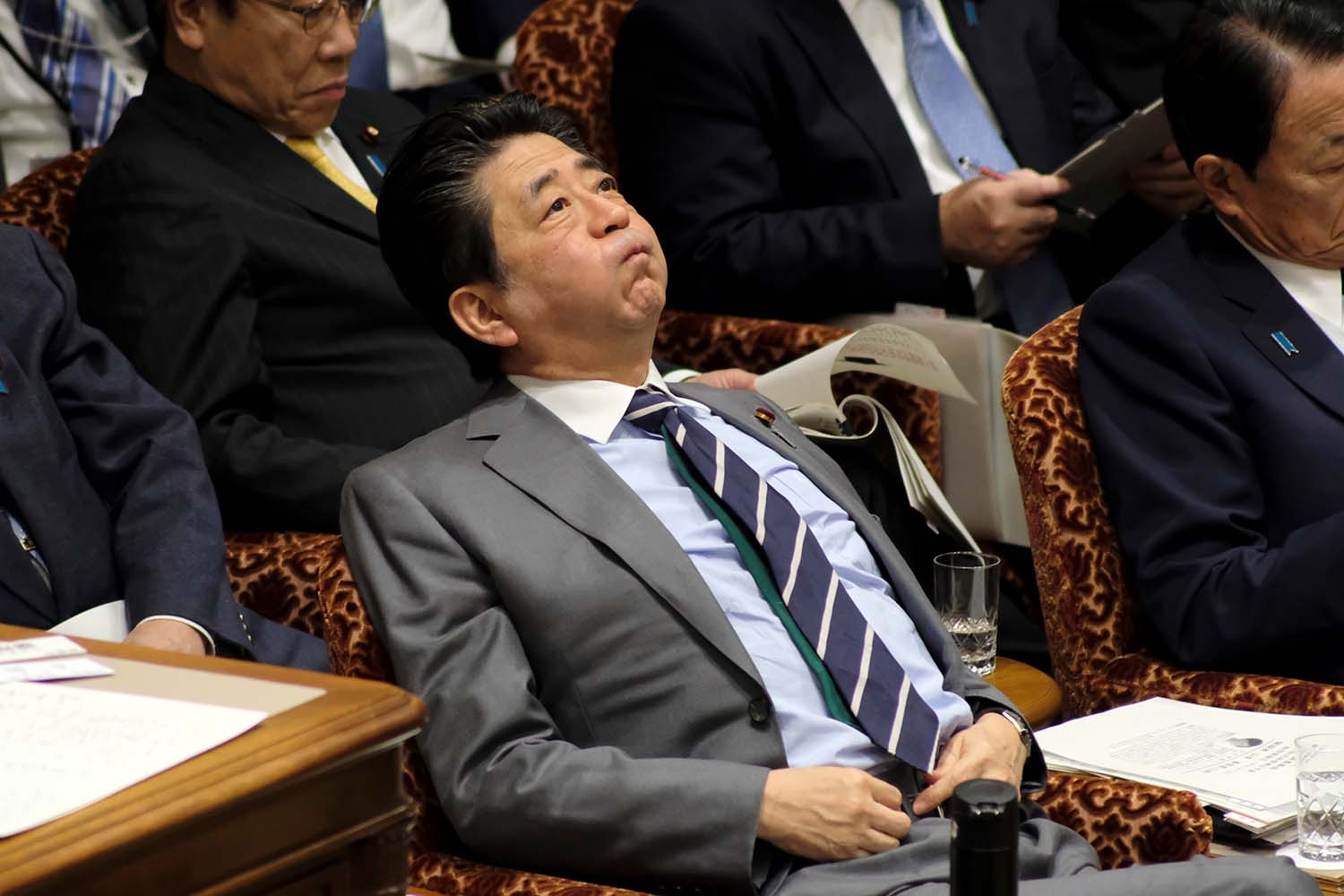 Japan's Prime Minister Shinzo Abe reacts during a budget committee session of the upper house of parliament on Jan. 30. KAZUHIRO NOGI/AFP via Getty Images
