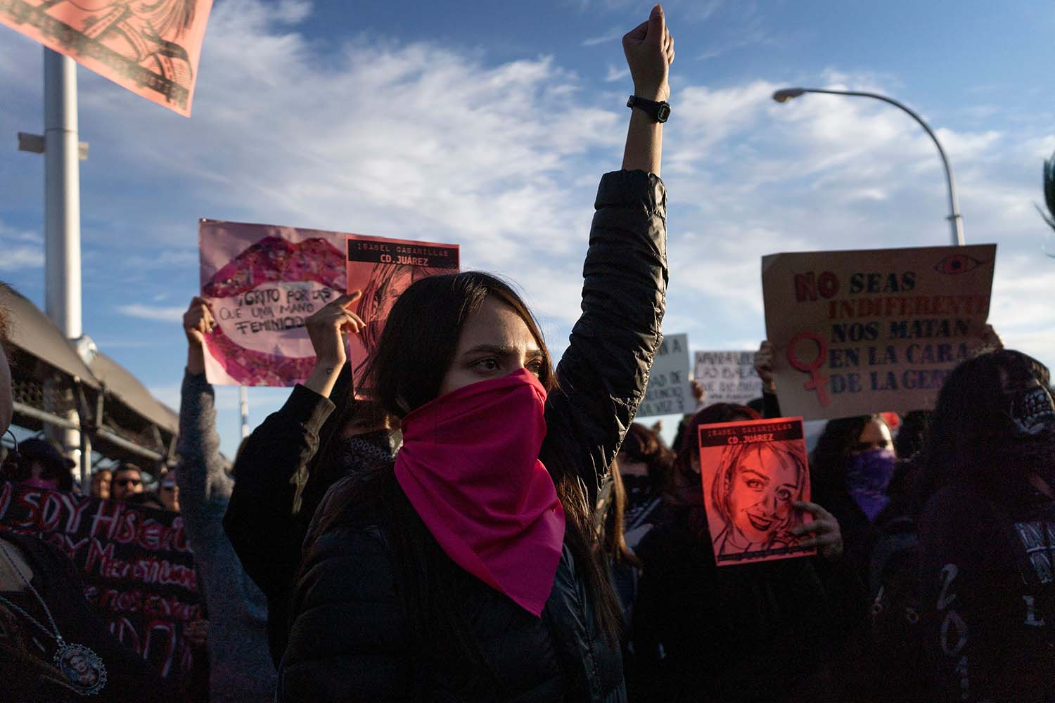 Protesters gather to demand justice for slain artist and activist Isabel Cabanillas duing a protest on the Paso del Norte International Bridge in Ciudad Juarez, Mexico, on Jan. 25. PAUL RATJE/AFP via Getty Images