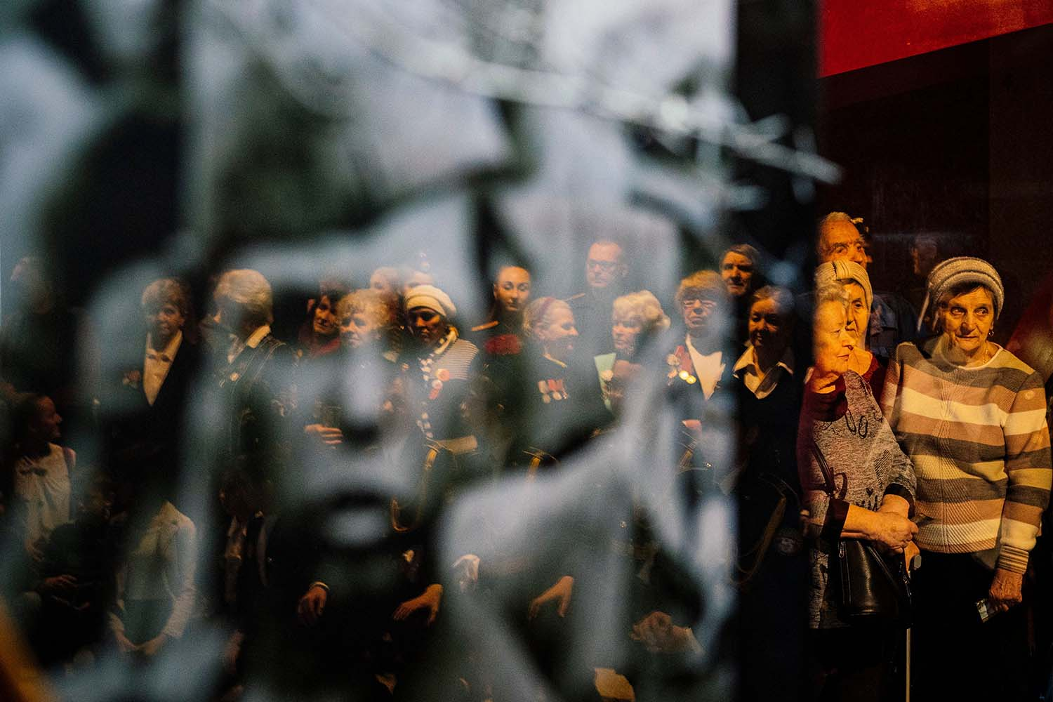 Veterans attend an event marking 75 years since the liberation of Auschwitz, the extermination camp where the Nazis killed more than 1 million Jews, at Moscow's Victory Museum on Jan. 28. DIMITAR DILKOFF/AFP via Getty Images