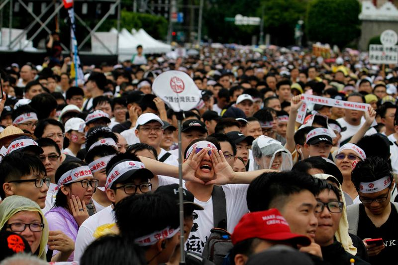 Protesters in Taiwan