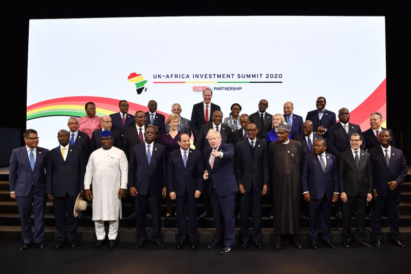 British Prime Minister Boris Johnson hosts African leaders and senior government representatives during the UK-Africa Investment Summit in London on Jan.20.