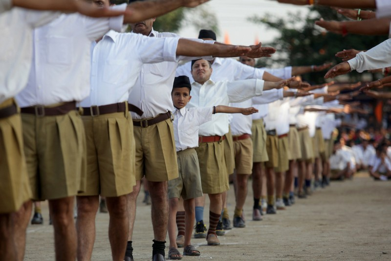 Indian volunteers of Hindu nationalist Rashtriya Swayamsevak Sangh (RSS) organization gather during a visit by their chief, Mohan Bhagwat,  in Jammu on Sept. 29, 2013.