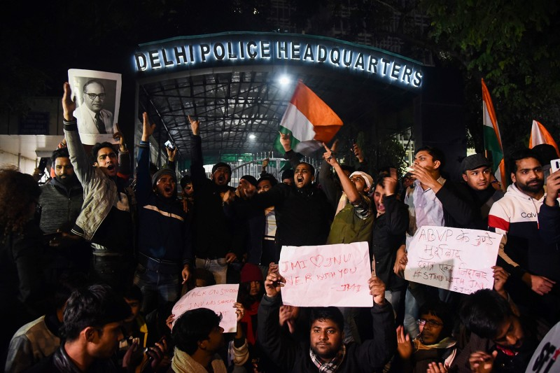 Demonstrators shout slogans outside the Delhi Police Headquarters to protest after clashes at Jawaharlal Nehru University (JNU) in New Delhi on Jan. 5.