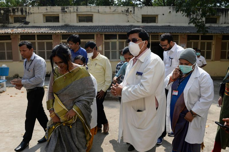 An Indian Health Ministry team visit an isolation ward, where patients arriving from Hong Kong are kept a preventative measure due to the coronavirus outbreak, at a state-run hospital in Hyderabad, India, on Jan. 28.