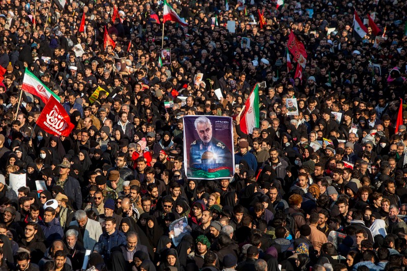 Mourners attend a funeral ceremony for Qassem Suleimani in Tehran, Iran, on Jan. 6.