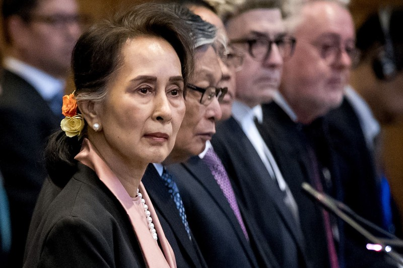 Myanmar's State Counsellor Aung San Suu Kyi stands before the UN International Court of Justice on Dec. 10, 2019, in the Hague.