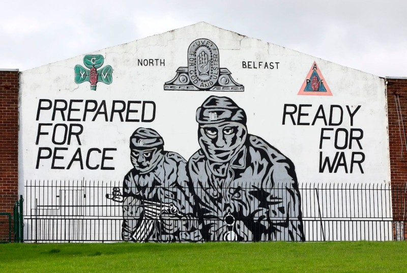An Ulster Volunteer Force (UVF) mural in North Belfast, Northern Ireland.