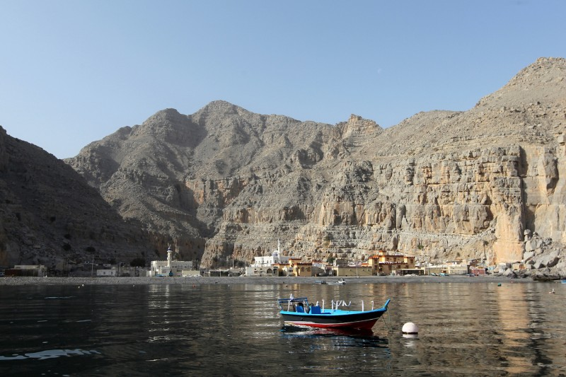 The tiny village of Kumzar on the northernmost tip of Oman's Musandam peninsula on March 14, 2012, overlooking the strategic Straits of Hormuz.