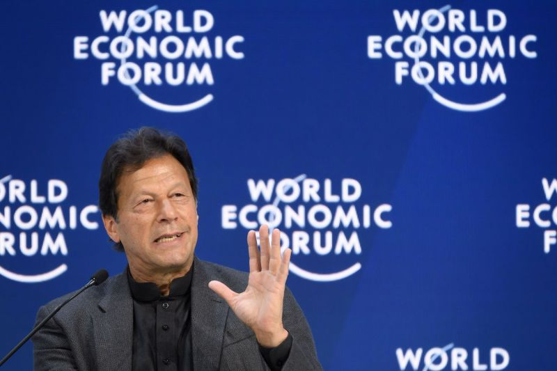 Pakistani Prime Minister Imran Khan delivers a speech at the World Economic Forum (WEF) annual meeting in Davos, Switzerland.