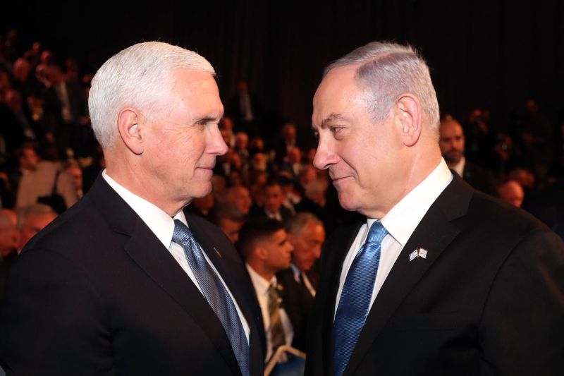 U.S. Vice President Mike Pence speaks with Israeli Prime Minister Benjamin Netanyahu during the Fifth World Holocaust Forum in Jerusalem on Jan. 23.