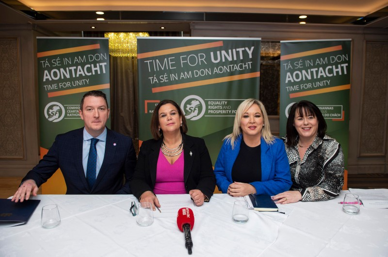 Sinn Fein leader Mary Lou McDonald sits alongside deputy leader Michelle O'Neill, North Belfast MP John Finucane and Fermanagh and South Tyrone MP Michelle Gildernew.
