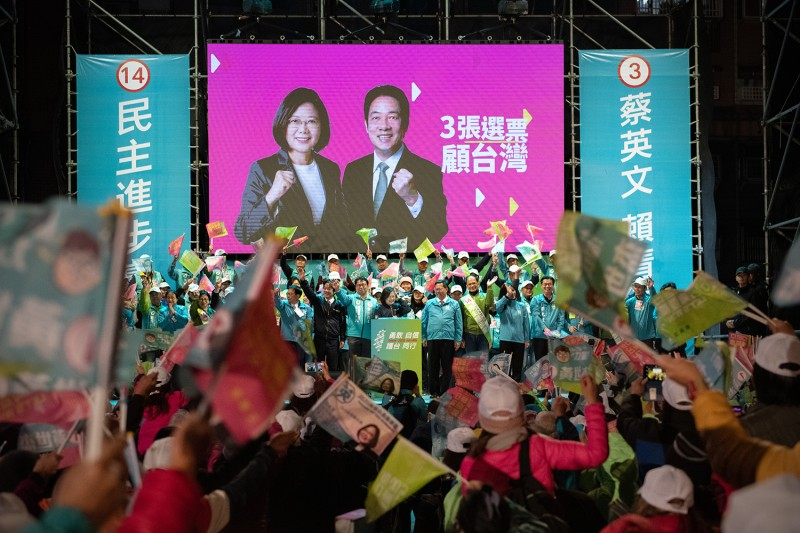 Taiwan's incumbent President Tsai Ing-wen speaks during a rally on Jan. 8 in Taoyuan, Taiwan, ahead of Saturday's presidential election.