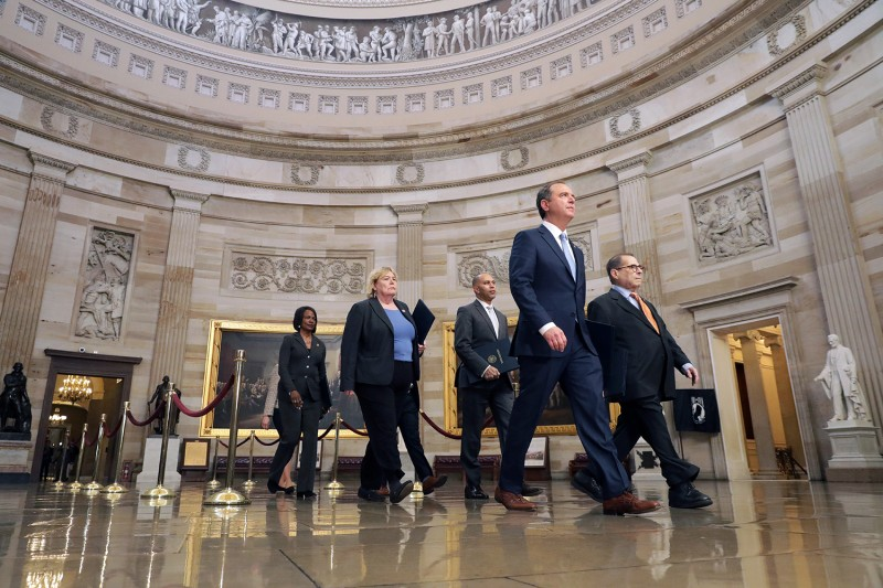 Rep. Adam Schiff and other Democratic lawmakers walk through the U.S. Capitol on their way to the Senate on Jan. 16 in Washington, DC.